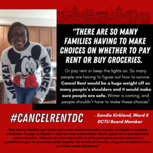 """Picture of Sandie Kirkland from Ward 8. White text in a black box features a quote by Sandie explaining that """"there are so many families having to make choices on whether to pay rent or buy groceries."""""""