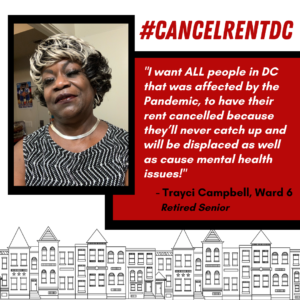 Picture of Trayei Campbell from Ward 6. White text in a red box features a quote by Trayei explaining that rent should be cancelled for all people affected by the pandemic to address issues related to displacement and mental health.